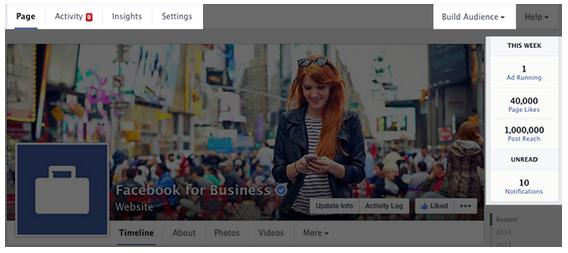 Admin Bereich Facebook Redesign
