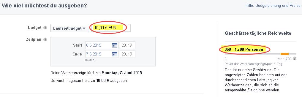 Facebook Werbung Budget