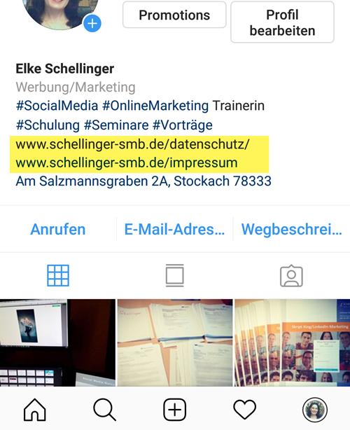 Link zu Datenschutz auf Instagram