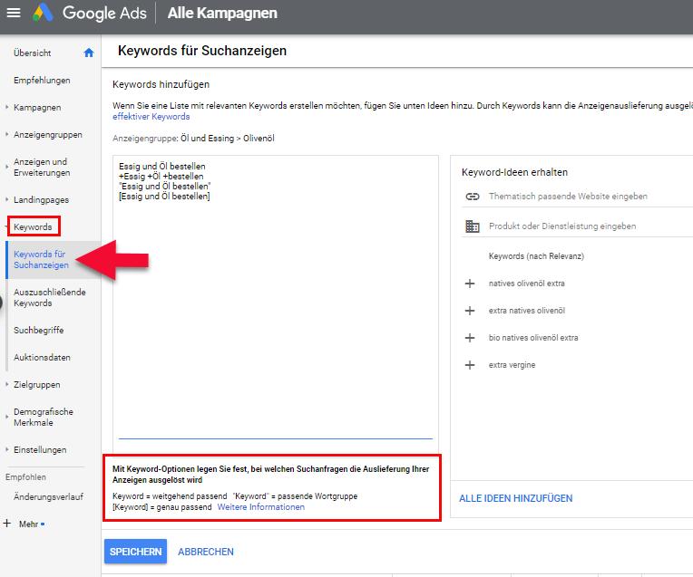 Google Ads Keywordoptionen