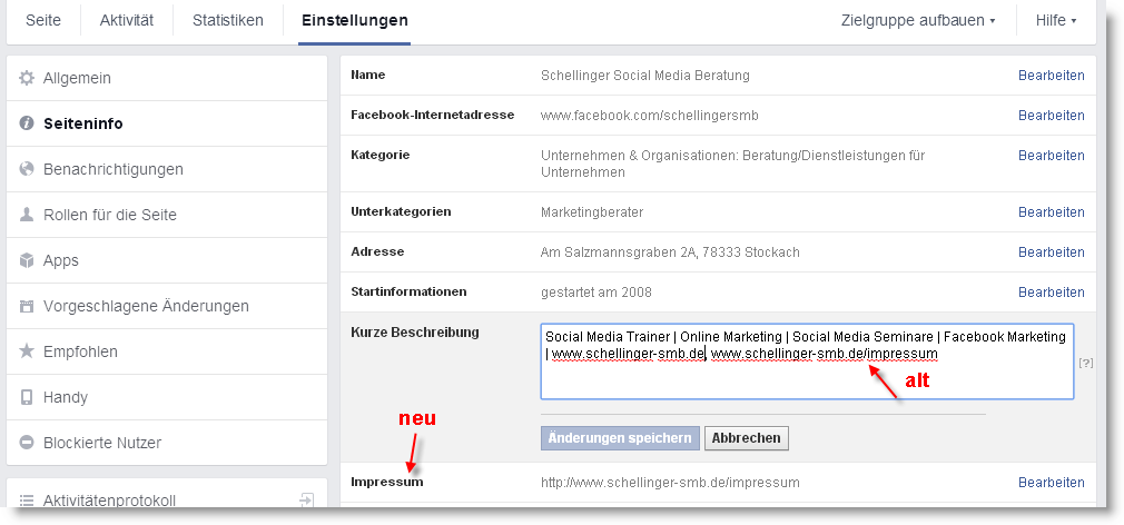 Facebook bietet jetzt für Seiten ein Feld zum Eintragen des Impressums an