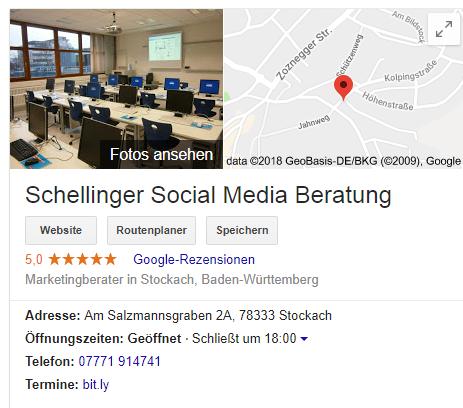 Bewertungen Google Maps - Schellinger Social Media Beratung