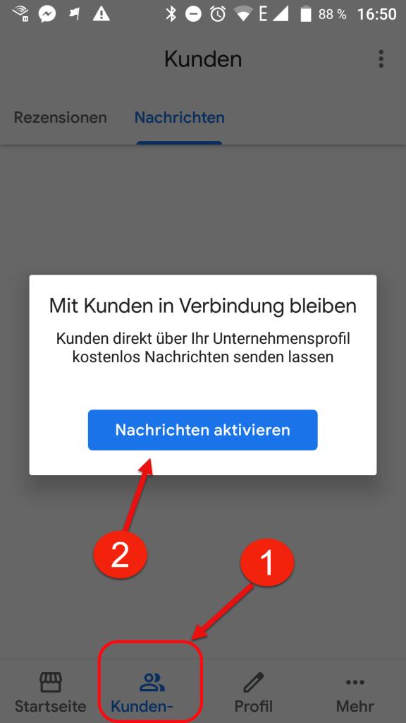 Wie kann ein Unternehmen die Nachrichtenfunktion auf Google Maps aktivieren?